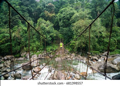 Backpacker with a green backpack walking across a rickety wood and cable bridge spanning a rushing river deep in the rain forest of Meghalaya, a state in Northeast India