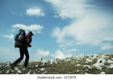 Backpacker in hike