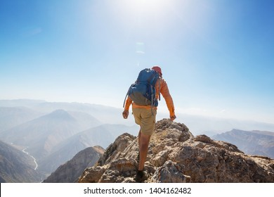 Backpacker in hike in the summer mountains