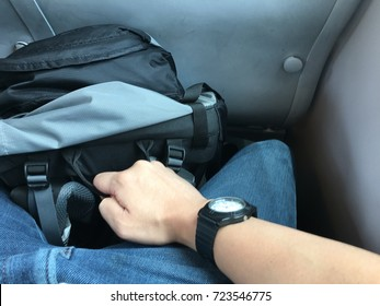 Backpacker man traveling on the train. Travel, tourism, holidays concept.