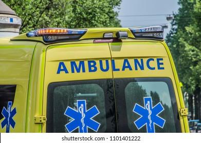 Backside Ambulance At Amsterdam The Netherlands 2018
