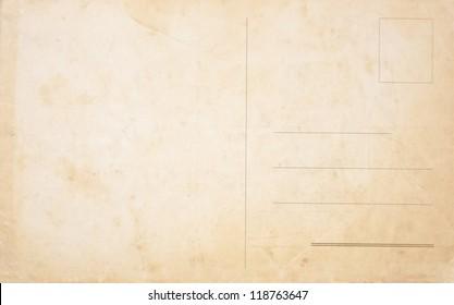 Backside of a blank vintage postcard