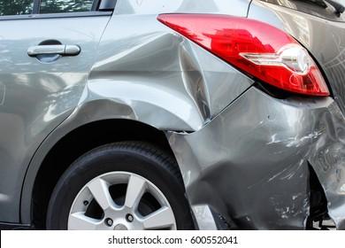 Backside of a car get damaged after a car crash accident
