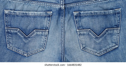 Backside denim blue jean texture with pocket.