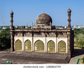 Backside of the entrance of the gate of Gol Gumbaz - the mausoleum of king Mohammed Adil Shah, Sultan of Bijapur .