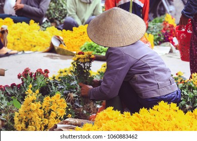 Backside of flower vendor in Saigon, Ho Chi Minh City, Vietnam