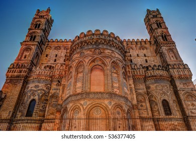 Backside of the huge cathedral in Palermo, Sicily, Italy