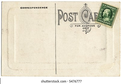 The backside of an old postcard from the early 1900s.