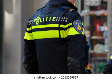Backside Of A Police Man At Amsterdam The Netherlands 4-5-2020