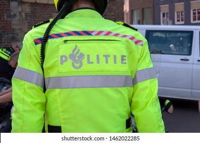 Backside Of A Police Motor Officer At Amsterdam The Netherlands 2019