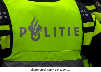 Backside Of A Police Uniform At Amsterdam The Netherlands 2019