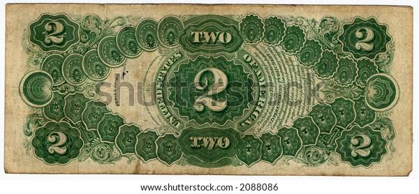 Backside Rare Vintage 2 Dollar Bill Stock Photo (Edit Now