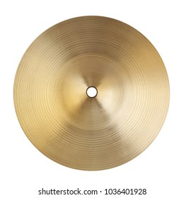 Backside of small cymbal isolated on white background