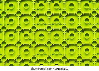 Backside View of Green Plastic Construction Blocks