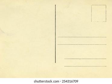 Backside of vintage postcard