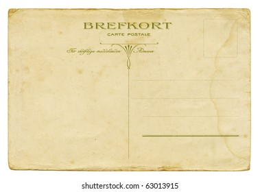 Backside of a vintage Swedish post card from circa 1900.