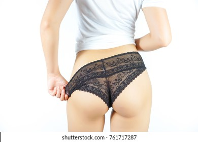 Backside Woman in White T-Shirt and Black Panties, with taking off her panties, Showing Body and Shape