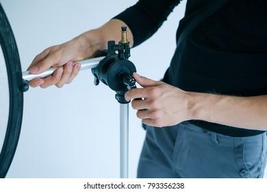 backstage photo studio. photography equipment. photographer workplace