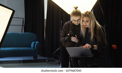 backstage photography. professional technology and equipment. photoshoot in process. teamwork