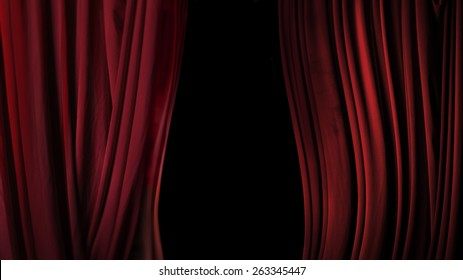 Backstage theater of red cloth