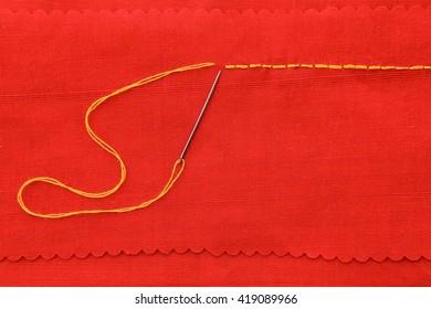 Backstitch hand sewing background.