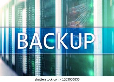 66ded1a22f7813 Backup button on modern server room background. Data loss prevention.  System recovery.