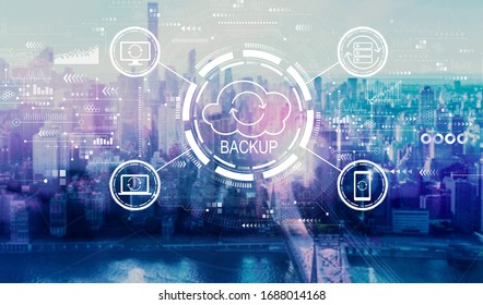 Backup concept with the New York City skyline near midtown