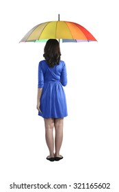 Backview of asian woman holding colorful umbrella isolated over white background