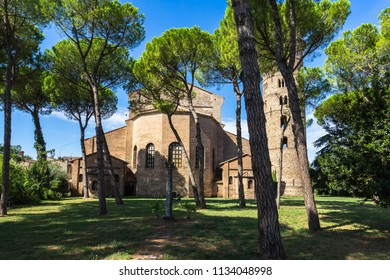 Backview of the Basilica of Sant'Apollinare in Classe, an important site for Byzantine art near Ravenna, Emilia Romagna, Italy