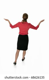 Backview of a business woman  with arms raised