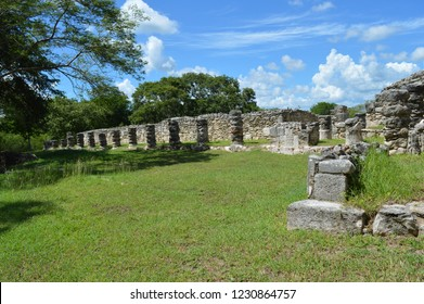 backview of colums at mayapan