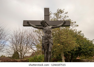 Backwell, Bristol, UK, November 05, 2018:  Large Crucifix at St Andrews Church, Backwell