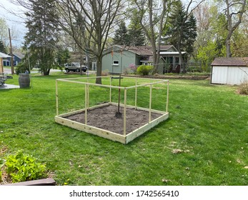 Backyard City Garden Plot Ready for Planting