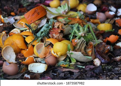 Backyard composting, compost pile with layers of organic matter and soil
