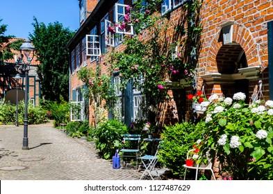 Lübeck Backyard Corridors Quarter with flowers