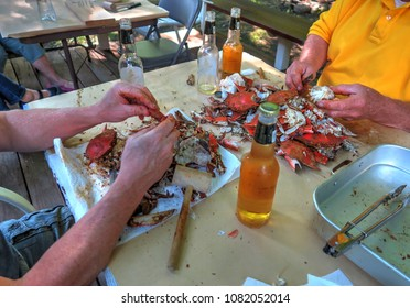 Backyard crab feast eating steamed blue crab from Baltimore, Maryland in the summer