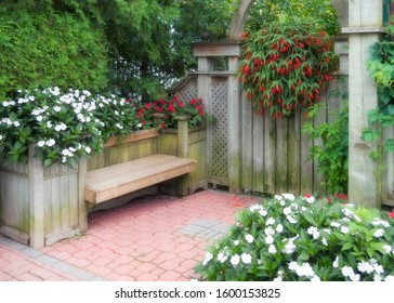 backyard english garden landscaping wood and flowers