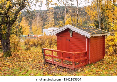 Backyard and fallen leaves cover the ground with a red dollhouse in the autumn. play house.