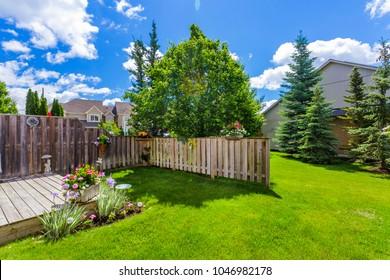 Backyard garden of custom built luxury house in the suburbs of Toronto, Canada.