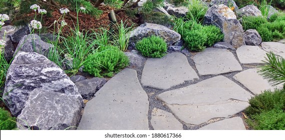 Backyard Garden Modern Design Landscaping. Landscaped Back Yard. Decorative Garden With Pathway Or Walkway From Stone And Rocks Or Gravel. Back Yard Or Park Lawn With Stony Natural landscaping.