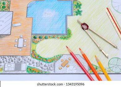 Backyard garden and pool design plan for villa.
