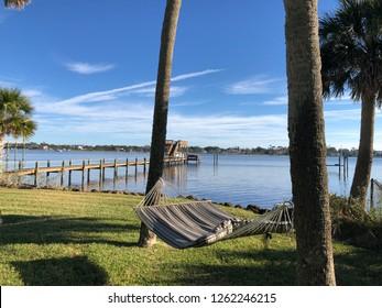 Backyard hammock on Intracoastal waterway in Florida.