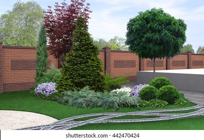 Backyard horticultural background, 3d render