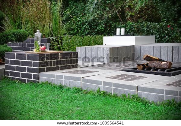 Backyard Patio Fireplace Ornamental Backyard Garden Stock Photo