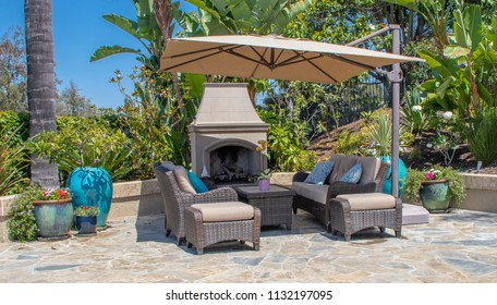 Backyard Patio with Fireplace in Southern California