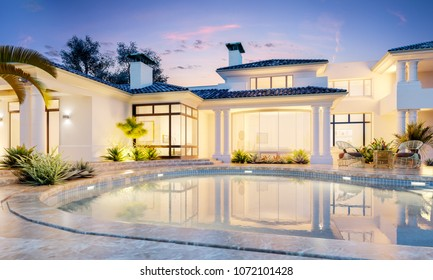 Backyard with a pool in an expensive mansion. Very beautiful sunset in private house. 3d illustration
