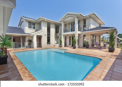 Backyard with pool in modern luxury house