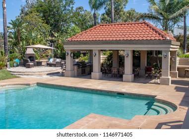 Backyard in Southern California with Cabana
