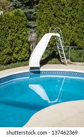backyard pool slide images stock photos vectors shutterstock rh shutterstock com small backyard pool with slide backyard pool with water slide