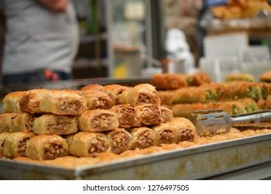 baclava, baklava sweets at Mahane Yehuda, shuk, Jewish grocery market in Jerusalem, Israel